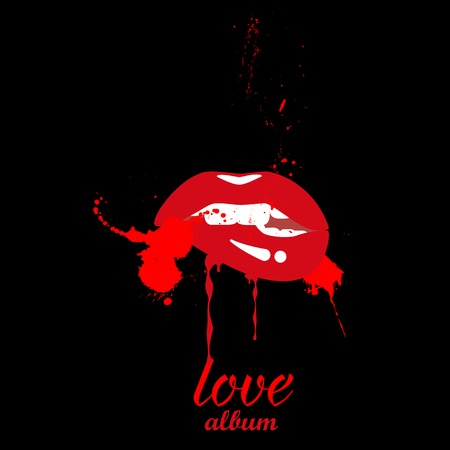 Red lips with a spray on a black background. Cover for a music album. Vector illustration Illustration