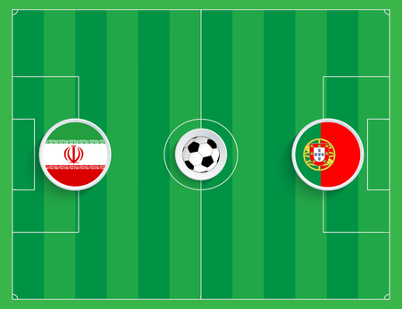 Portugal against Iran. Top view of an illustration of a football field with round flags of teams. Vector illustration