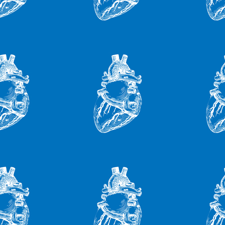 Seamless blue background with a sketch of the human heart. Vector illustration Illustration