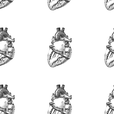 Seamless background with a sketch of the human heart. Vector illustration