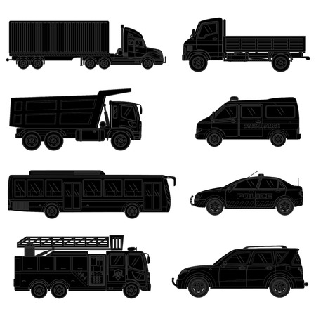 Car silhouette set. Vector illustration