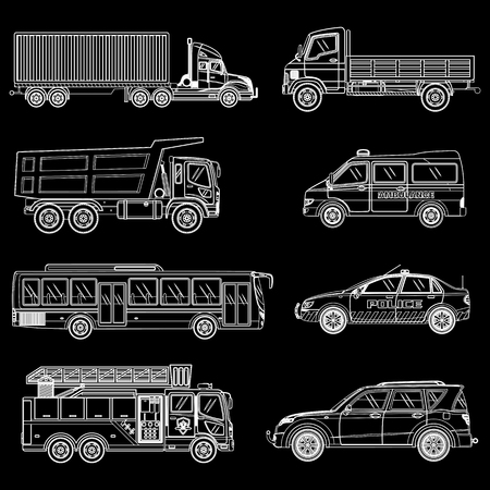 Line car set. Vector illustration