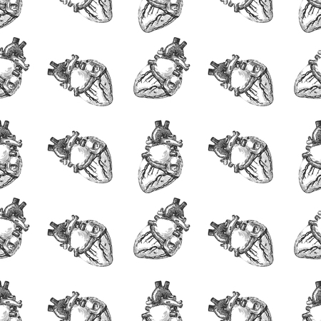 Heart human sketch seamless pattern background. Vector illustration