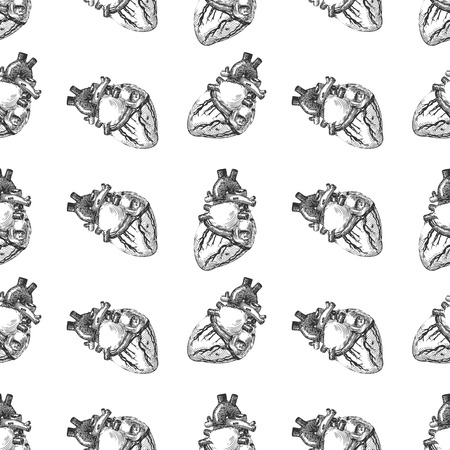 Heart human sketch seamless pattern background. Vector