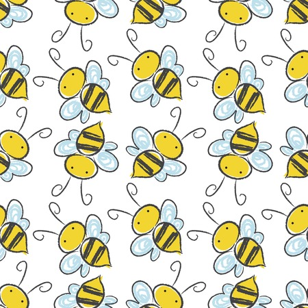 Bee seamless pattern background. Vector illustration
