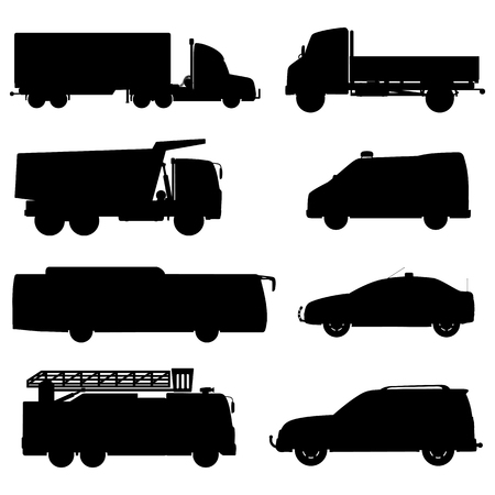 Black silhouette cars set.
