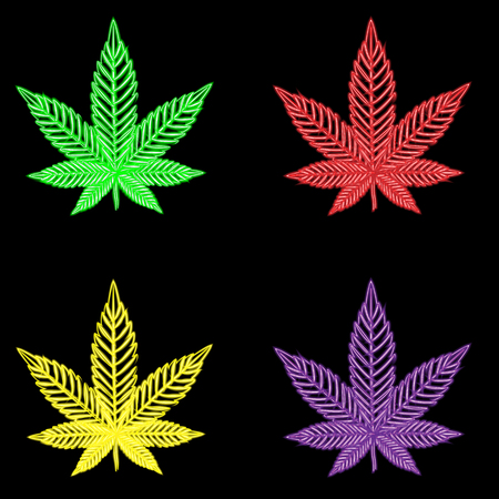 Marijuana, neon design. Illustration Stock Photo