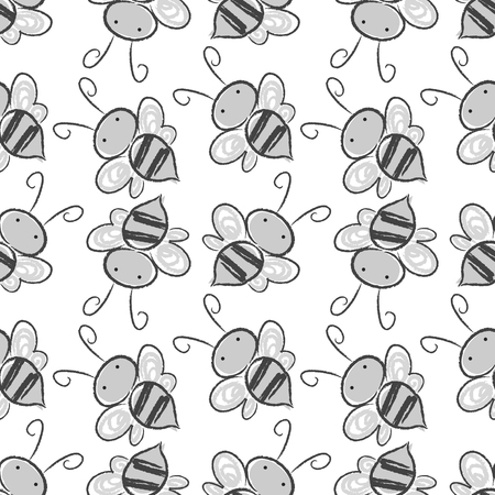 Bee seamless pattern background. Stock Photo