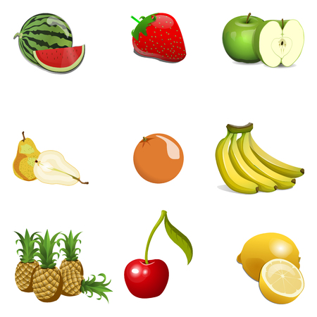 Cartoon Fruit Set Isolated.