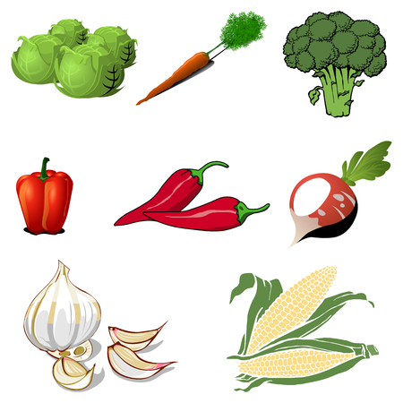 Cartoon Vegetables Set Isolated.