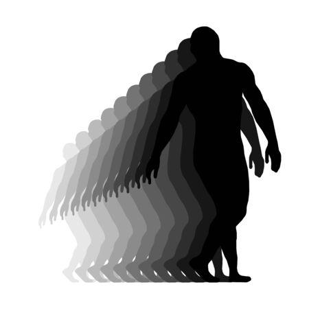 Wrestler isolated silhouette