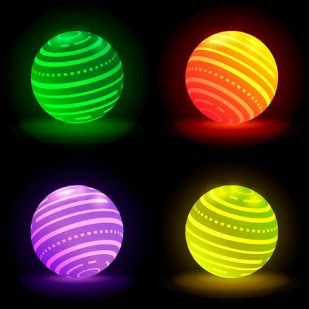 Collection of glowing 3D balls of different colors. Illustration