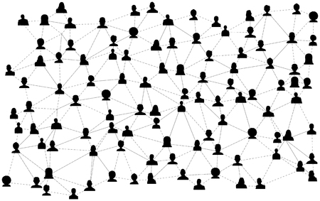 Connecting people silhouette. Social network concept. Vector illustration. Illustration