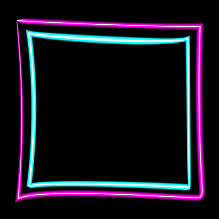 Neon purple and blue square black background. Vector EPS 10.