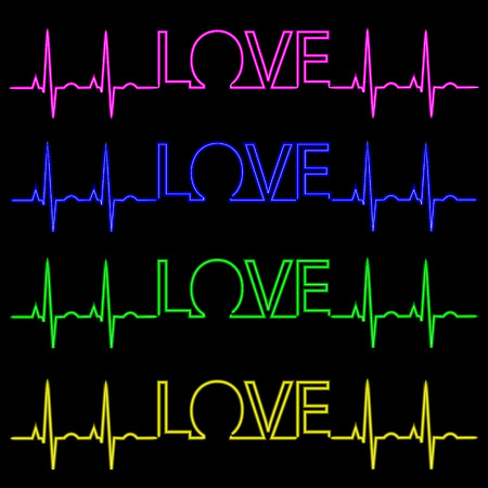 Neon inscription I love you with a pulse. Vector Illustration