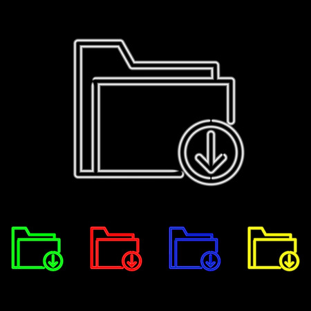 Neon icon set of folder download illustration. Vector illustration Illustration