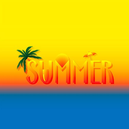 Creative summer text with different summer design elements. Palm tree, sun, umbrella, beach on creative vector background template. 向量圖像