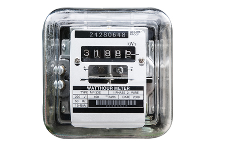 Analog electric meter isolated on white. Electricity consumption Stock Photo