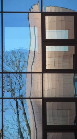 spiffy: crooked reflection of a building in windows of another modern building