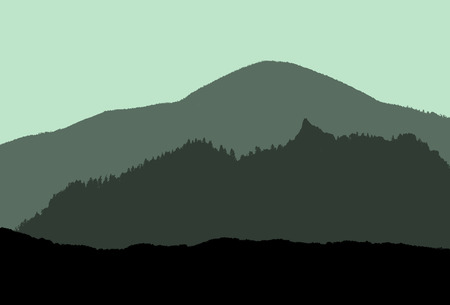 panoramatic: illustration of silhouettes of mountains in green tones