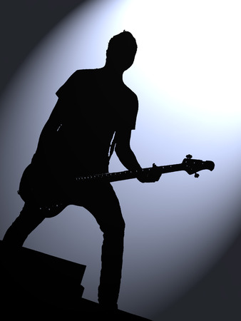 rock guitarist: Silhouette of a rock guitarist under the spotlight in blue tones Stock Photo