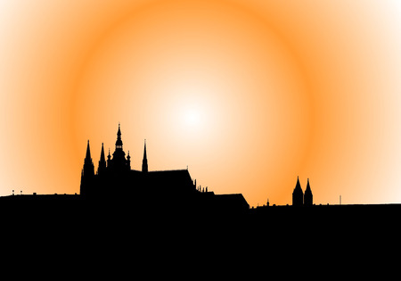 Illustration of panorama of Prague at the sunset with orange sky