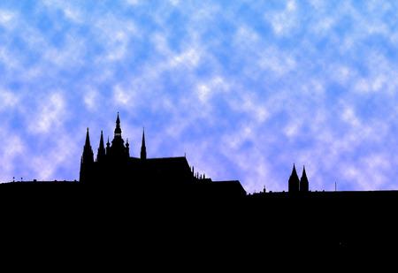 Illustration of panorama of Prague with blue clouds Reklamní fotografie