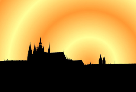 panoramatic: Illustration of panorama of Prague at the sunset with yellow and orange sky Stock Photo