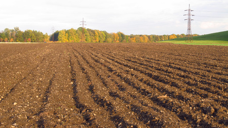 furrows: ploughed soil on the field in autumn