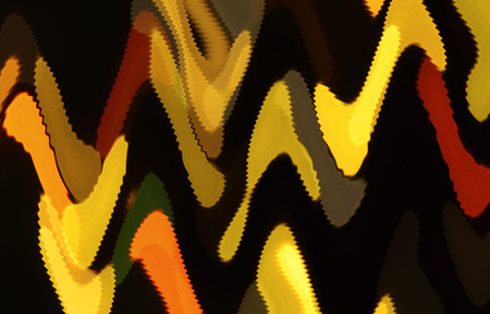 shivering: abstract yellow and orange shapes with shivering edges looking like painted Stock Photo