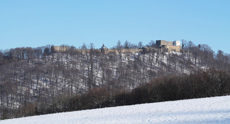 panoramatic: panorama of a Hukvaldy castle on the hill in winter