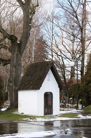 chappel: small old white chappel at the cemetery
