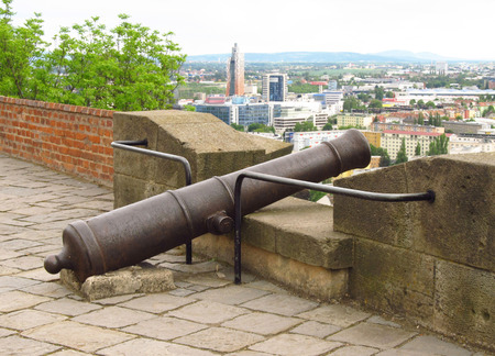 rampart: old cannon on the rampart of Spilberk castle in Brno, Czech Republic Editorial