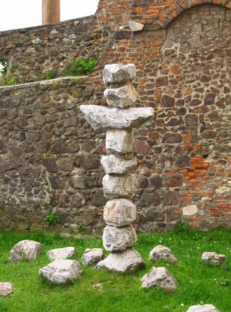 cross recess: Cross made of stones in the park in Brno, Czech Republic