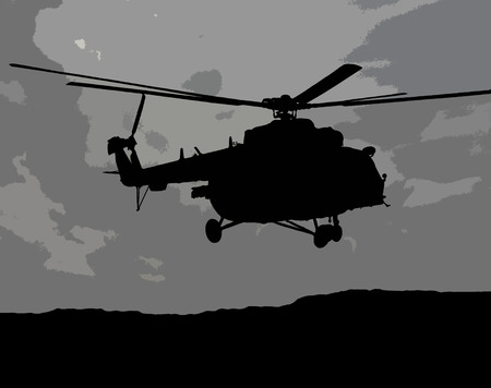 17: Illustration of flying MI-17 helicopter in the gray cloudy sky