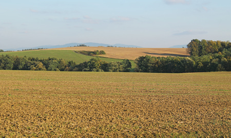 landscape with ploughed fields in the autumn