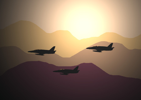 jets: illustration of three fighter jets flying above the desert during the sunset in the evening