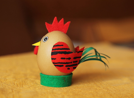 funny easter egg decorated like a cock Stock Photo