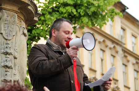 protester talking on demonstration against minister Andrej Babis and president Milos Zeman in Olomouc, Czech Republic, May 10, 2017 - editorial Editorial