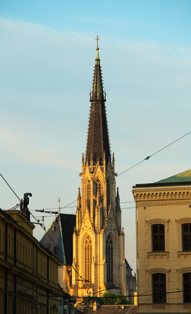 tower of cathedral of saint Vaclav enlightened with evening light  in Olomouc, Czech Republic Stock Photo