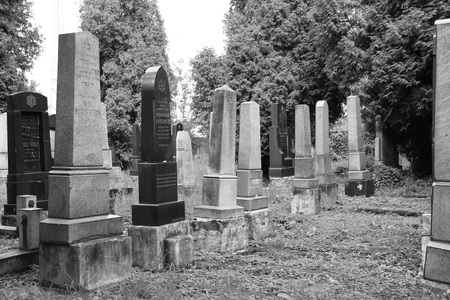 black and white photo of beautiful old tombstones on the jewish cemetery in Frydek-Mistek, Czech Republic - editorial