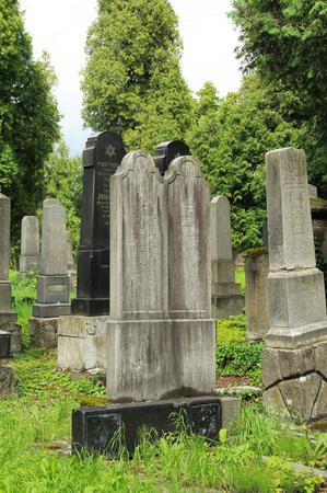 beautiful old tombstones on the jewish cemetery in Frydek-Mistek, Czech Republic - editorial Editorial