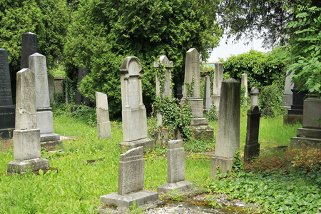 Beautiful old tombstones on the jewish cemetery in Frydek-Mistek, Czech Republic - editorial