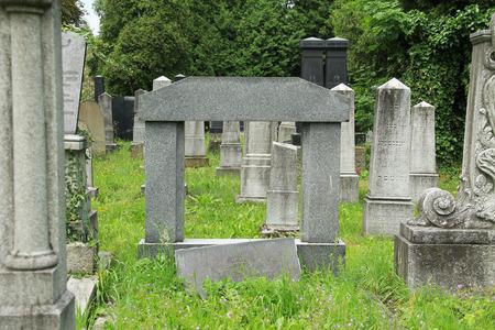 beautiful old tombstones on the jewish cemetery in Frydek-Mistek, Czech Republic - editorial Stock Photo