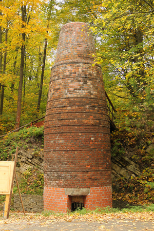 old brick furnace for processing lime in Vendryne, Czech Republic