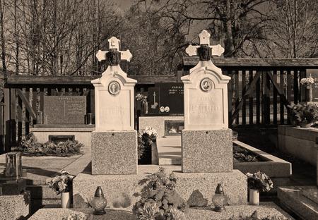 beautiful old gravestones on the cemetery in ochre tones, Prazmo, Czech Republic Editorial