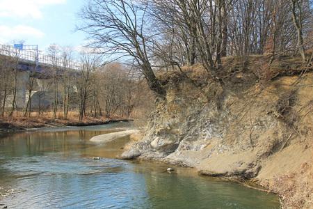 riva minata del fiume Olse (Olza), Repubblica Ceca