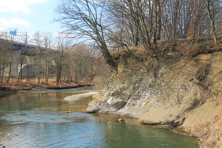 undermined bank of Olse (Olza) river, Czech Republic Stock fotó