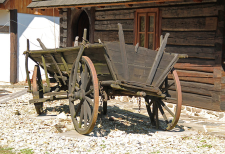 old wooden cart, historical farming chariot