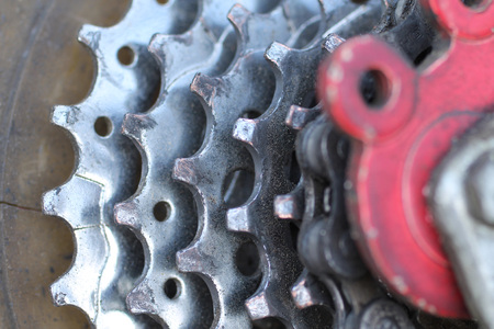 close photo of a gear unit of mountain bike